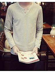 Herren Solide Einfach Lässig/Alltäglich T-shirt,Rundhalsausschnitt Langarm Baumwolle