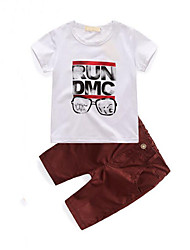 cheap -Boys' Daily Going out Print Clothing Set,Cotton Summer Short Sleeve Cartoon White