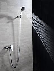 Contemporary Wall Mounted Widespread Ceramic Valve Single Handle Three Holes Chrome , Bathtub Faucet