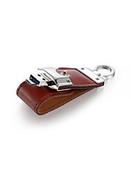 16GB 2 in 1 Leather USB 2.0 OTG Flash Drive Micro USB Memory Stick (Brown)