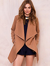 cheap -Women's Daily Vintage Spring Fall Trench Coat,Solid V Neck Long Sleeve Regular Rayon