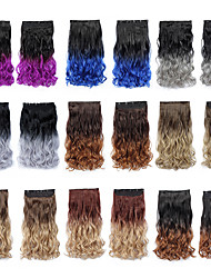 cheap -22 Inch High Temperature Synthetic Fiber Clip in Ombre Wavy Hair Extensions with 5 Clips