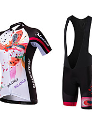 cheap -Malciklo Women's Short Sleeves Cycling Jersey with Bib Shorts British Bike Clothing Suits, Quick Dry, Anatomic Design, Ultraviolet