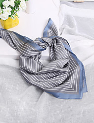 cheap -Women's Nylon Silk Scarf Cute Work Casual Square 70*70 Striped Print Brown/Grey