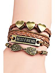 Women's Charm Bracelet Friendship Fashion Bohemian Initial Jewelry Alloy Heart Animal Shape Alphabet Shape Jewelry For Birthday Gift