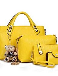 Mulher Bolsas Todas as Estações Couro Ecológico Conjuntos de saco Conjunto de bolsa de 4 pcs para Casual Vermelho Roxo Amarelo Fúcsia