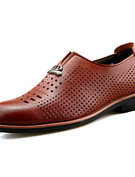 Men's Shoes PU Spring Fall Light Soles Loafers & Slip-Ons Walking Shoes Rivet For Casual Black Brown