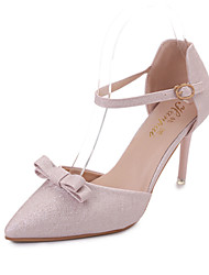 Недорогие -Для женщин Сандалии Удобная обувь Полиуретан Лето Для прогулок Для прогулок Пряжки На шпильке Белый Бежевый Розовый Менее 2,5 см