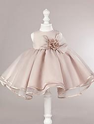 Ball Gown Short / Mini Flower Girl Dress - Organza Sleeveless Jewel Neck with Flower by likestar