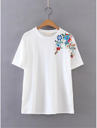 Women's Embroidery Going out Casual/Daily Simple Street chic Fall Winter Shirt,Solid Shirt Collar Long Sleeve White Cotton Medium