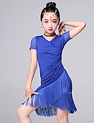 Latin Dance Dresses Kid's Performance Milk Fiber Tassel(s) 2 Pieces Short Sleeve Dress Shorts