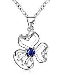 Women's Pendant Necklaces AAA Cubic Zirconia Flower Zircon Silver PlatedUnique Design Dangling Style Rhinestone Geometric Friendship