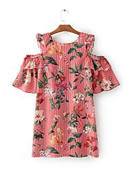 Ample Courte Tee Shirt Robe Femme Sortie Décontracté / Quotidien simple Chic de Rue,Rayé Broderie Col Arrondi Au dessus du genouManches