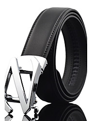 Men's Simple Business Black/Silver/Gold Genuine Leather Alloy Automatic Buckle Waist Belt Work/Casual/Party All Seasons