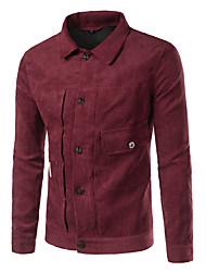 baratos -Homens Jaqueta Moda de Rua - Sólido Colarinho de Camisa