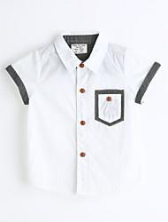 Jungen Hemd Einheitliche Farbe Baumwolle Sommer Kurzarm