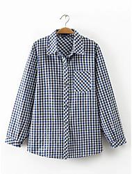 Для женщин На выход На каждый день Лето Рубашка Рубашечный воротник,Секси Простое Уличный стиль Хлопчатобумажная ткань в клеткуДлинный