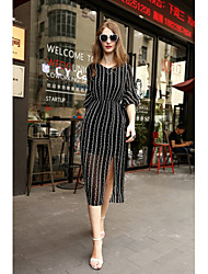 cheap -MMLJ Women's Daily Going out A Line Dress,Striped V Neck Midi Polyester Chiffon Spring Summer Mid Rise Stretchy Medium