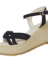 abordables -Mujer Zapatos Lino Verano Sandalias Paseo Talón de bloque Dedo redondo Combinación para Blanco Negro Beige Azul Pantalla de color