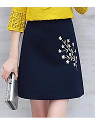 abordables -Mujer Noche Sobre la Rodilla Faldas, Línea A Otro Verano Un Color Floral