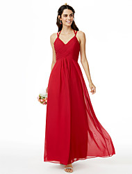 cheap -Sheath / Column Spaghetti Straps Ankle Length Chiffon Bridesmaid Dress with Pleats Criss Cross by LAN TING BRIDE®