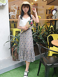 Women's Casual/Daily Maxi Skirts,Simple A Line Pure Color Print Summer