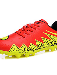 Boys' Athletic Shoes Comfort PU Spring Fall Outdoor Soccer Lace-up Flat Heel Black/Blue Dark Blue Orange Silver Under 1in