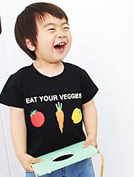 Unissex Camiseta Estampado Desenho Animado Moderno Verão Algodão Manga Curta Floral Desenho Branco Preto