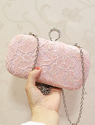 Women Bags All Seasons PU Evening Bag Lace Sequined for Event/Party Party & Evening Club Black Blushing Pink