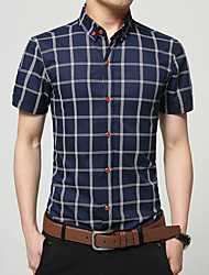 cheap -Men's Daily Casual Active Summer T-shirt,Plaid/Check Standing Collar Short Sleeves Cotton Thin