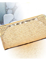 Ladies' fashion gold silver stone grain long female wallet hollow out edges golden metal hand bag