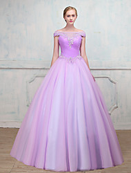Ball Gown Illusion Neckline Floor Length Tulle Formal Evening Dress with Beading Lace by SG