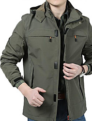 Men's Daily Simple Spring/Fall Jacket,Solid Shirt Collar Long Sleeve Regular Others