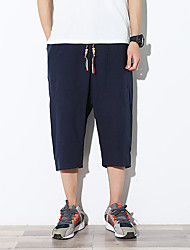 Men's Mid Rise Micro-elastic Loose Chinos Pants,Boho Active Simple Relaxed Solid