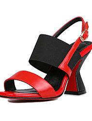 Women's Heels Club Shoes Comfort Suede Summer Fall Wedding Office & Career Party & Evening Dress Buckle Chunky Heel Pool Ruby White3in-3