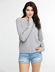 preiswerte -Damen Standard Pullover-Lässig/Alltäglich Sexy Einfach Solide Rosa Grau Rundhalsausschnitt Langarm Acryl Herbst Winter Mittel