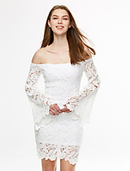 Women's Casual/Daily / Club Sexy / Street chic Bodycon DressSolid Boat Neck Backless Lace Above Knee Long Flare Sleeve Spring / Fall Mid Rise
