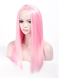 cheap -New Stylish Pink color Straight Africa American wigs Capless Synthetic Ladys Full Wig