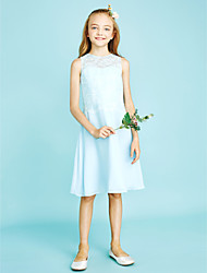 cheap -Sheath / Column Jewel Neck Knee Length Chiffon Lace Junior Bridesmaid Dress with Lace by LAN TING BRIDE®