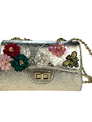 Women Bags All Seasons Poly urethane Shoulder Bag Rhinestone Appliques Pearl Detailing Bead Sequined Floral Petals Embroidered Pattern