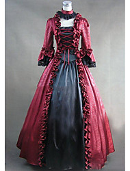 Victorian Rococo Costume Women's Party Costume Red Vintage Cosplay Other Satin Long Sleeves Cap Floor Length