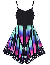 Fodero Vestito Da donna-Da sera Per eventi Per uscire Casual Sensuale Semplice Monocolore Puois Farfalla Con bretelline AsimmetricoSenza