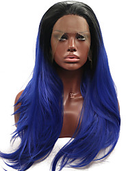 cheap -Long Silky Straight High Temperature Fiber Synthetic Lace Front Wigs Black to Dark Blue For Women