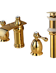 cheap -Widespread Waterfall Brass Valve Two Handles Three Holes Gold, Faucet Set