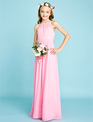 A-Line Halter Floor Length Chiffon Junior Bridesmaid Dress with Sash / Ribbon by LAN TING BRIDE®