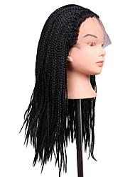 Недорогие -Искусственные волосы парики Африканские косички Парик с косичками Природные волосы Парик из натуральных волос Длинные Черный