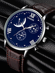 Недорогие -Муж. Кварцевый Наручные часы Стразы Кожа Группа Кулоны Мода Черный Коричневый