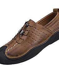preiswerte -Herrn Schuhe Leder Frühling Sommer Komfort Loafers & Slip-Ons Walking Geflochtene Riemchen für Normal Büro & Karriere Draussen Braun Khaki
