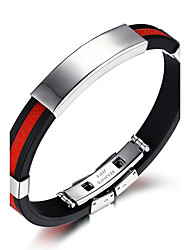 cheap -Men's ID Bracelet - Titanium Steel Rock, Fashion, Hip-Hop Bracelet White / Red / Blue For Birthday / Gift / Sports