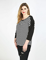 Cute Ann Women's Plus Size Casual/Daily Holiday Sexy Vintage Simple Spring Summer T-shirt,Striped Color Block Patchwork Round Neck Long Sleeve